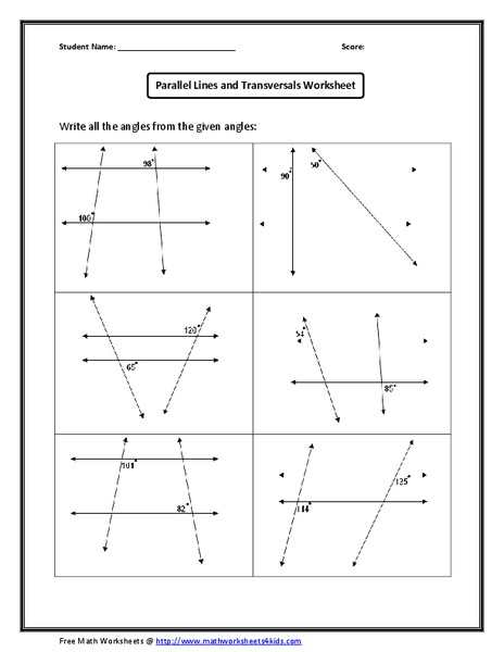 Geometry Worksheets   Angles Worksheets for Practice and Study as well  together with Parallel Lines and Transversals Worksheet Answers ly Parallel additionally Parallel Lines Transversal Worksheet The best worksheets image additionally  also Parallel Lines cut by a Transversal   Printable Missing Angle additionally Finding Angle Measures Parallel Lines Cut Worksheet Math And moreover Parallel And Transversal Lines Worksheet   Oaklandeffect further parallel lines transversal worksheet math – dupen club further  furthermore  also Identifying Angles formed by Parallel Lines and Transversals further Kuta  Geometry  Parallel Lines And Transversals Part 2   YouTube likewise  further Worksheet – Section 3 2 Angles and Parallel Lines moreover . on parallel lines and transversals worksheets