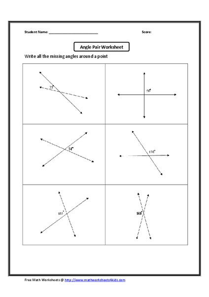 Vertical Angles Worksheet Worksheet For 9th 12th Grade