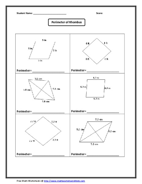 Rhombus Worksheet For 8th 10th Grade Lesson Planet
