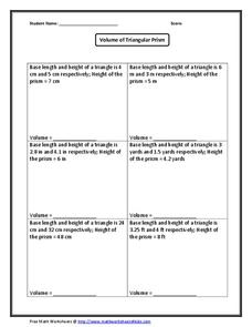 further Surface Area Of A Triangular Prism Worksheet With Answers The Best further Math worksheets volume prisms   Download them and try to solve as well  additionally Volume Worksheets besides Free Worksheets Liry   Download and Print Worksheets   Free on in addition  furthermore Volume Of Triangular Prisms Worksheet Worksheets for all     Volume moreover Volume of Triangular Prism Worksheet for 7th   10th Grade   Lesson together with Volume of Triangular Prisms lesson   worksheets by absholmesx furthermore Surface Area And Volume Worksheets Grade 8 besides The Volume and Surface Area of Triangular Prisms  C  math worksheet moreover Volume Triangular Prism Worksheet besides Volume Worksheets likewise Triangular Prism Volume Worksheets as well FREE Surface Area   Volume of Triangular Prisms Worksheet   Geometry. on volume of triangular prism worksheet