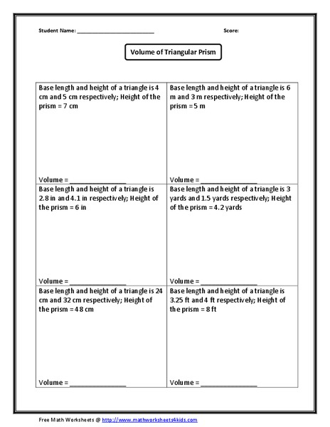 Volume of Triangular Prism Worksheet for 7th - 10th Grade ...