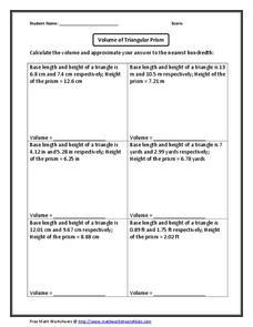 volume of triangular prism worksheet for 8th 11th grade lesson planet. Black Bedroom Furniture Sets. Home Design Ideas