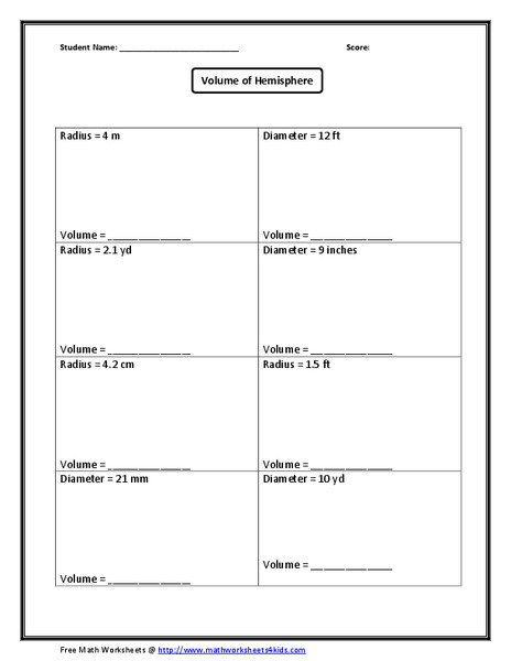 Volume Hemisphere Worksheet For 8th 12th Grade Lesson