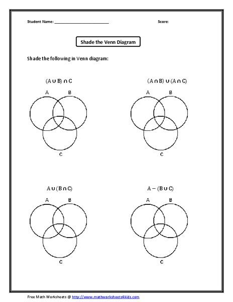 Shade The Venn Diagram Worksheet For 11th Grade