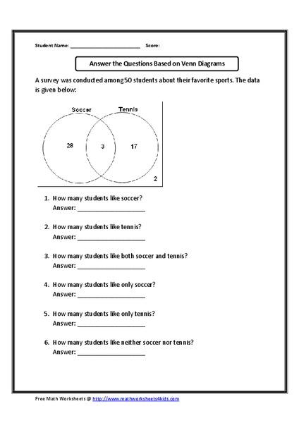 Answer The Questions Based On The Venn Diagram Graphic Organizer For 6th