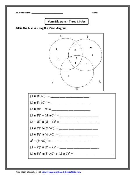 Venn Diagram Three Circles Worksheet For 6th 8th Grade Lesson