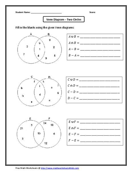 venn diagram two circles worksheet for 6th 8th grade lesson planet. Black Bedroom Furniture Sets. Home Design Ideas