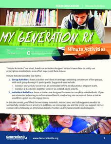 My Generation Rx: Minute Activities Lesson Plan