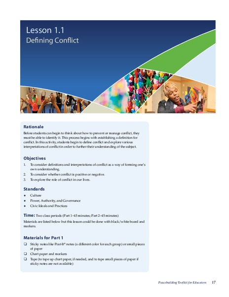 Defining Conflict Lesson Plan