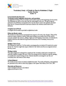 Vocabulary Study: A Wrinkle in Time by Madeleine L'Engle Worksheet