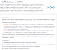 NOVA Evolution Lab Lesson Plan Activities & Project
