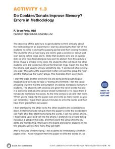 Do Cookies/Donuts Improve Memory? Errors in Methodology Activities & Project