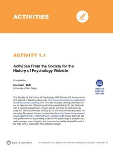 Activities from the Society for the History of Psychology Website Activities & Project