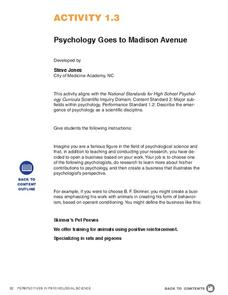Psychology Goes to Madison Avenue Activities & Project