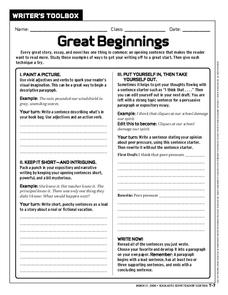 Great Beginnings Worksheet