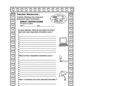 Great Inventions Worksheet
