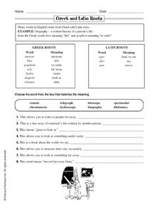 Greek and Latin Roots Worksheet for 4th - 5th Grade | Lesson ...