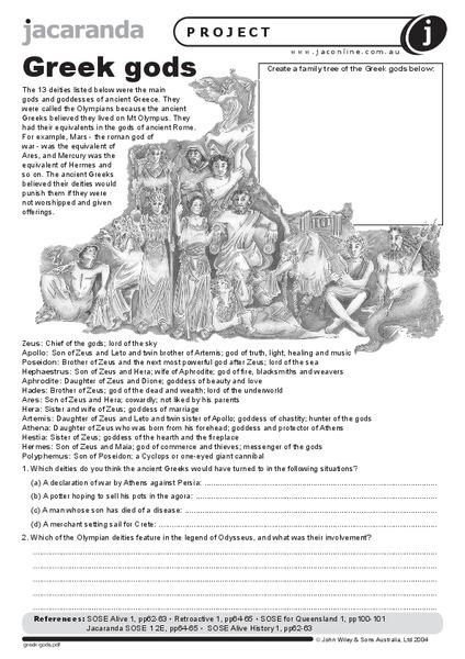Greek Gods Worksheet for 6th - 10th Grade | Lesson Planet
