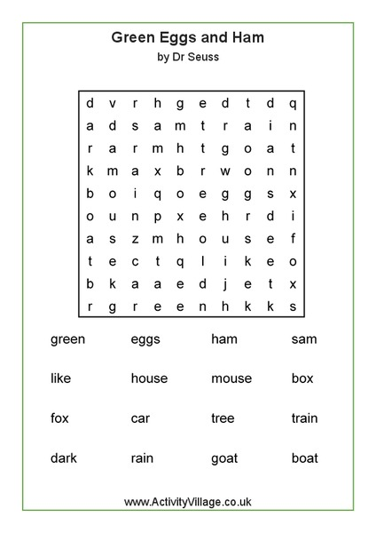 Green Eggs And Ham Worksheets Free Worksheets Library