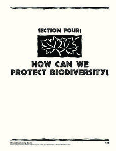 Section Four: How Can We Protect Biodiversity? Lesson Plan