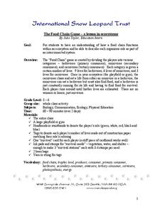 The Food Chain Game - A Lesson in Ecosystems Lesson Plan for