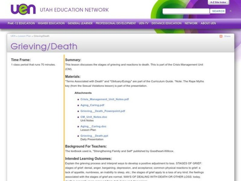 Grieving/Death Lesson Plan for 9th - 12th Grade | Lesson Planet