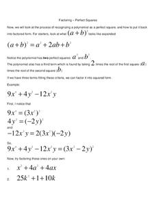 Factoring Perfect Squares Worksheet