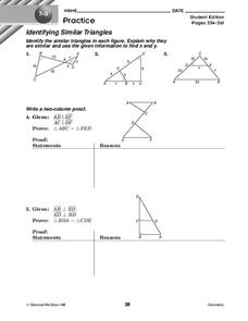 Identifying Similar Triangles Worksheet