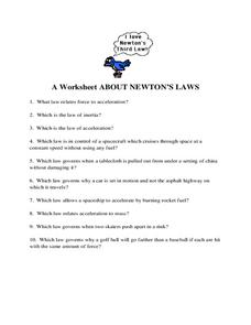 Newton S Laws Of Motion Lesson Plans Worksheets Lesson Planet