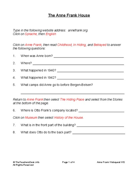The Anne Frank House Worksheet for 5th - 7th Grade ...