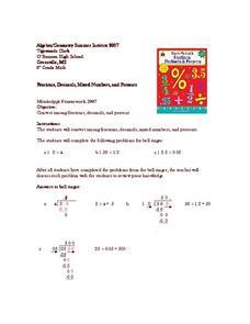 relationship between fractions and decimals percents ratios