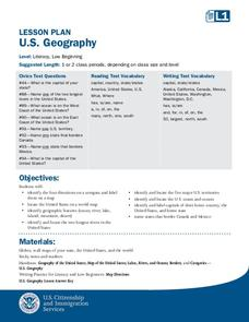 Capitals, Oceans, And Border States Lesson Plan