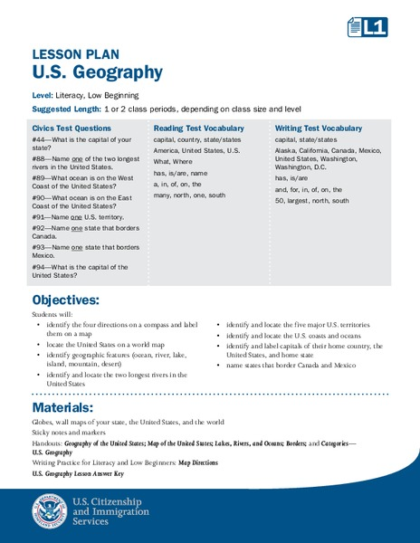 Capitals, Oceans, And Border States Lesson Plan for 5th ...