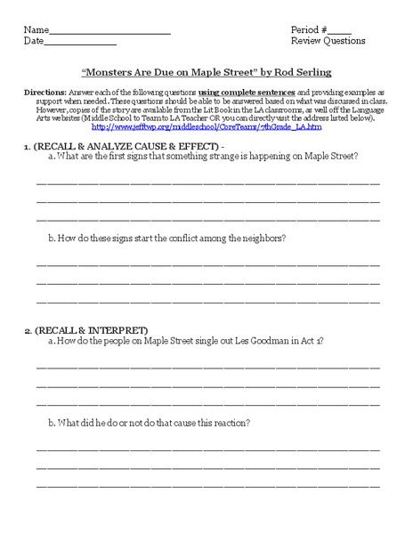 """Monsters Are Due on Maple Street"" by Rod Serling Worksheet"