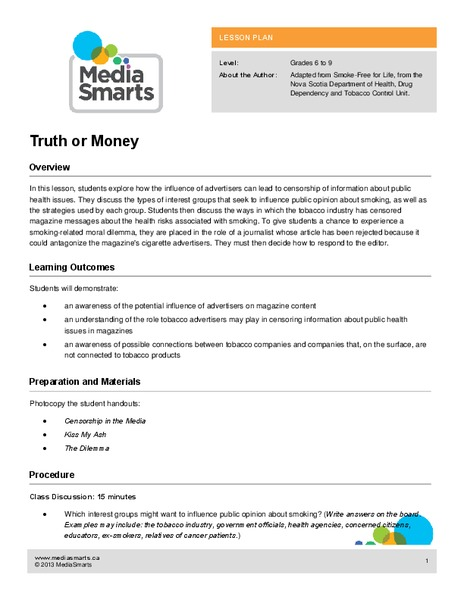 Truth or Money Lesson Plan