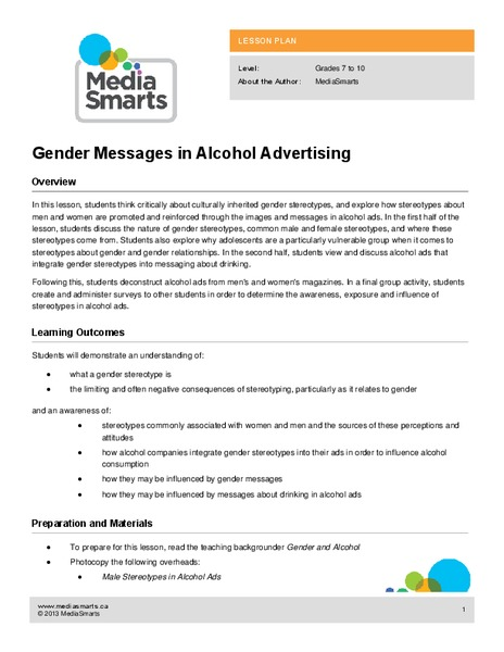 Gender Messages in Alcohol Advertising Lesson Plan
