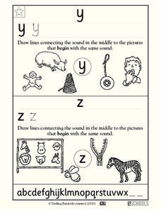 Practicing Letters y and z Worksheet