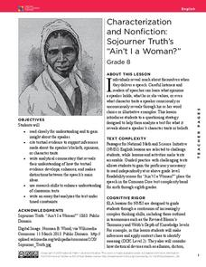 "Characterization and Nonfiction: Sojourner Truth's ""Ain't I a Woman?"" Lesson Plan"
