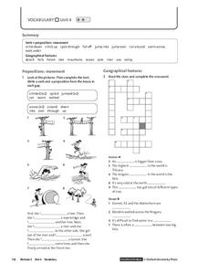 Vocabulary Unit 4.2: Prepositions and Geographical Features Worksheet