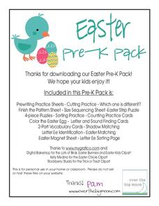 Easter Pre-K Pack Printables & Template
