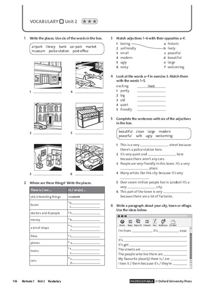 Vocabulary Unit 2.3: Places and Adjectives Worksheet