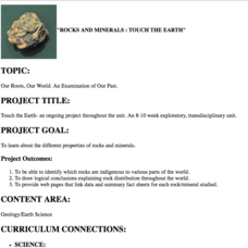 Rocks and Minerals: Touch the Earth Lesson Plan