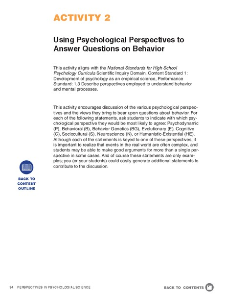 Using Psychological Perspectives to Answer Questions on Behavior Lesson Plan