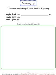 Growing Up Worksheet