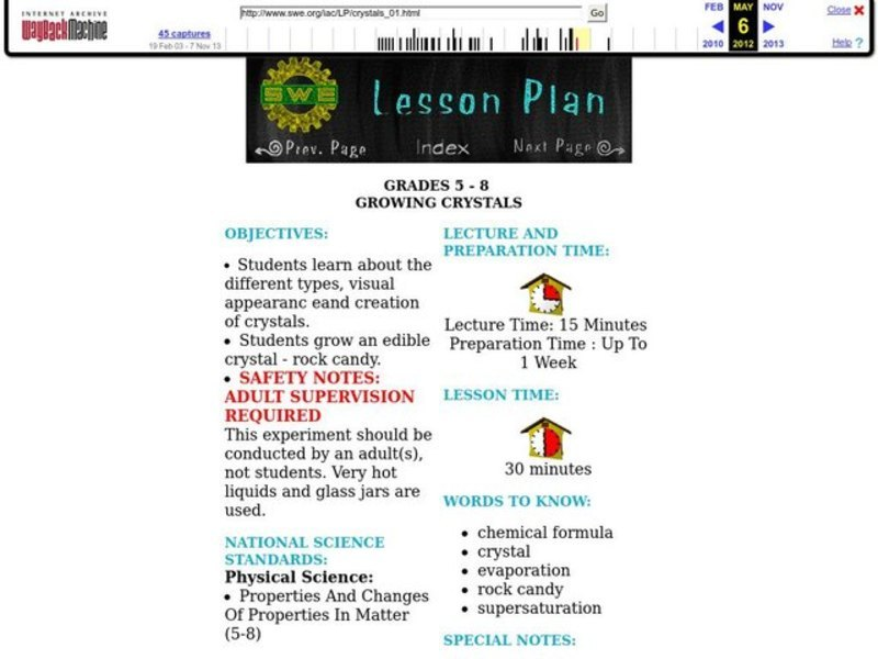 Growing Crystals Lesson Plan