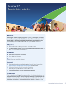 Peacebuilders in Action Lesson Plan