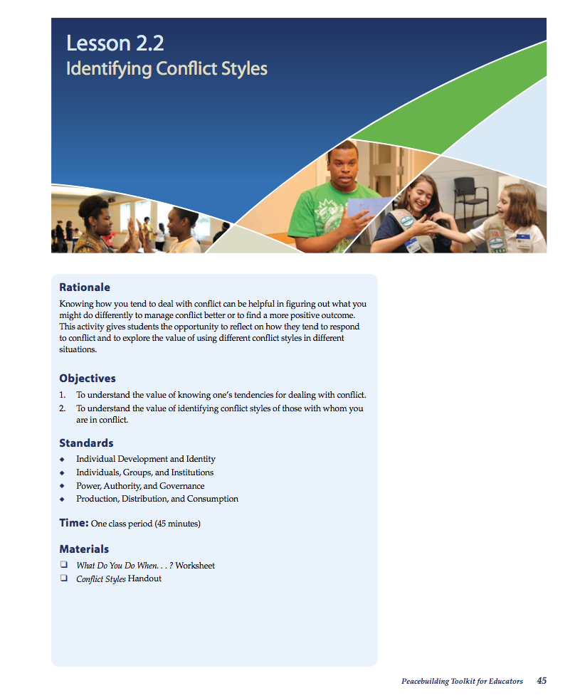 Identifying Conflict Styles Lesson Plan