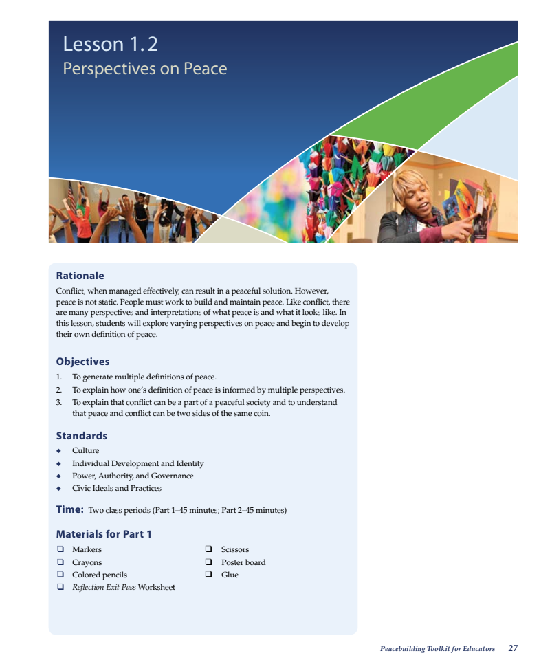 Perspectives on Peace Lesson Plan