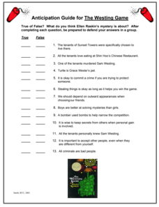 The Westing Game: Anticipation Guide Worksheet