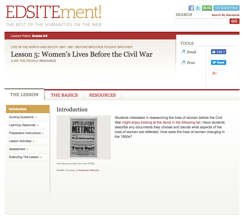 Women's Lives Before the Civil War Lesson Plan